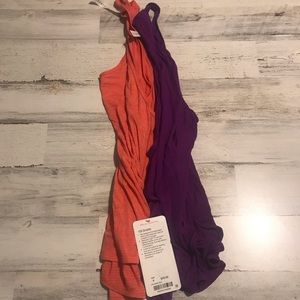 LULULEMON SIZE 4 TANK BUNDLE - ORANGE AND PURPLE